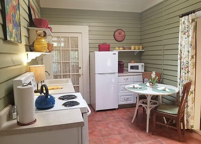 A small kitchen and table