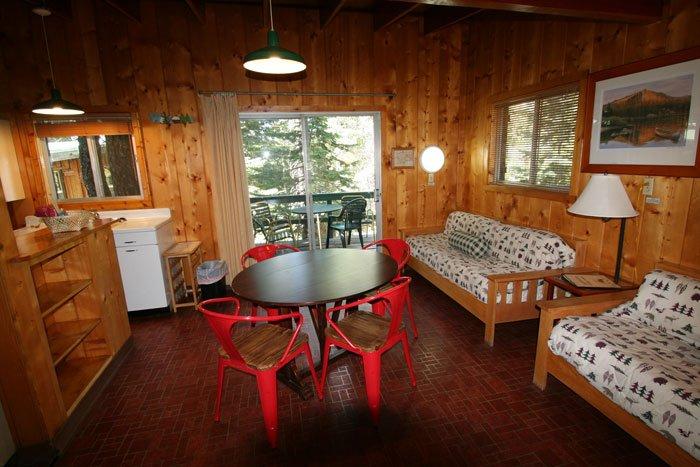 A sitting area inside a cabin