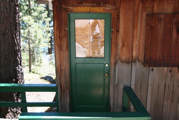 Front door to a cabin