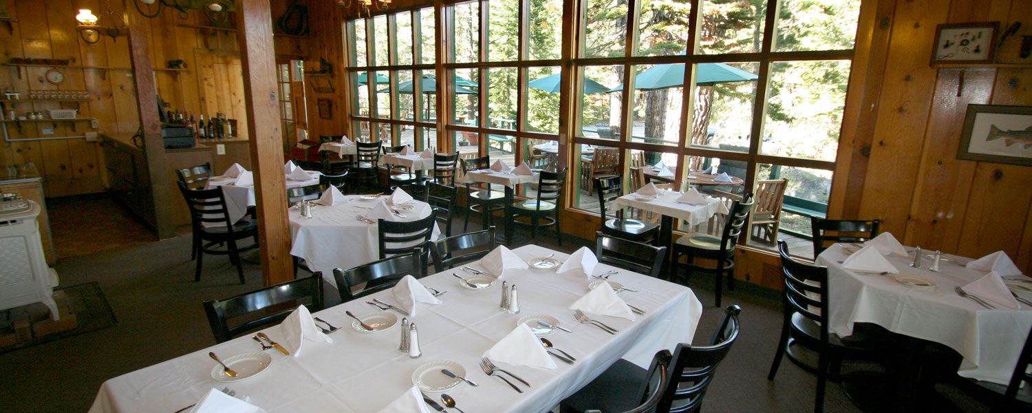 Tables and chairs in the Kit Carson Lodge Restaurant