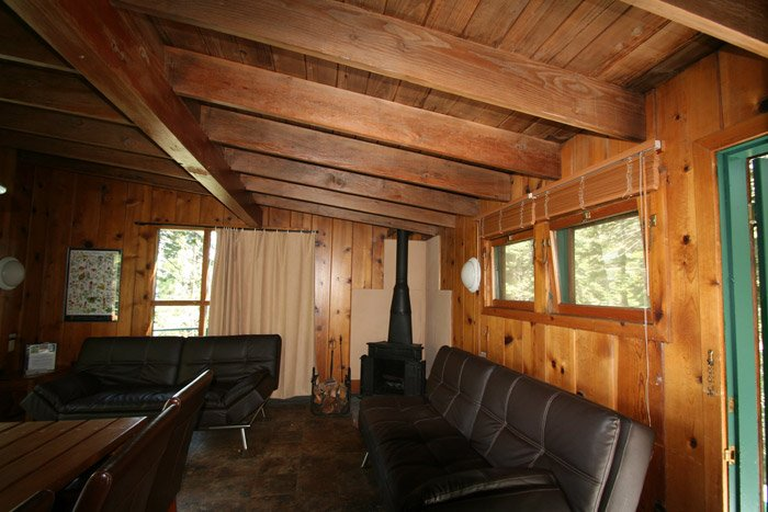 Cabin sitting area with couches