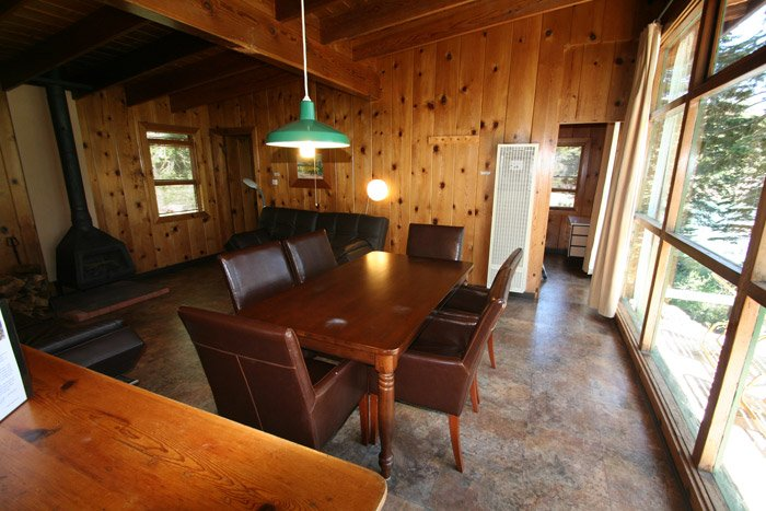 Table and chairs in a cabin