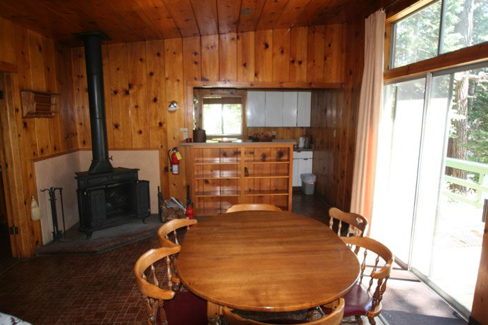 Interior of a cabin with table and fireplace