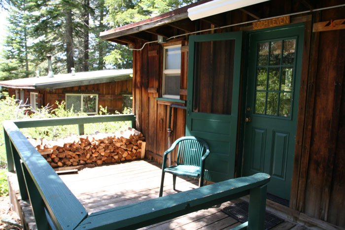 The porch of a cabin