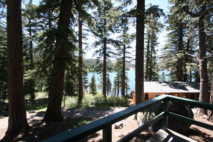 View of lake from cabin porch
