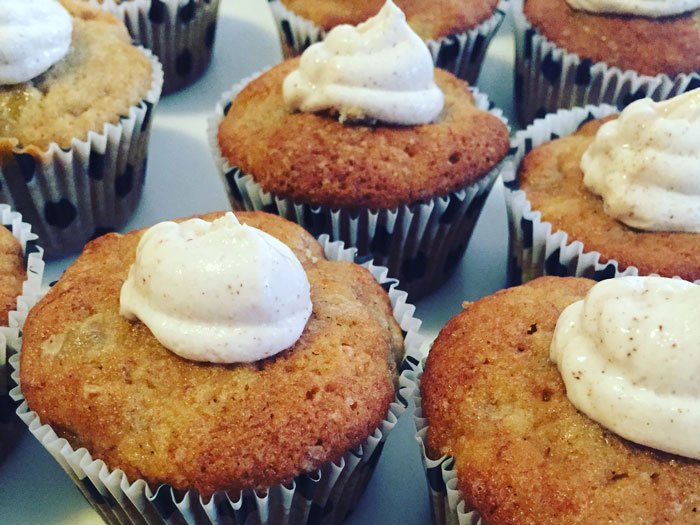 muffins with dollop of whip cream