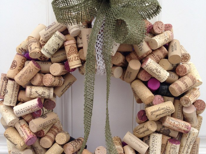 A decorative wreath made of wine corks