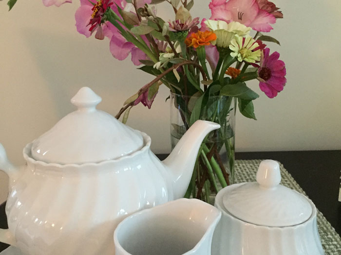 white coffee tea set