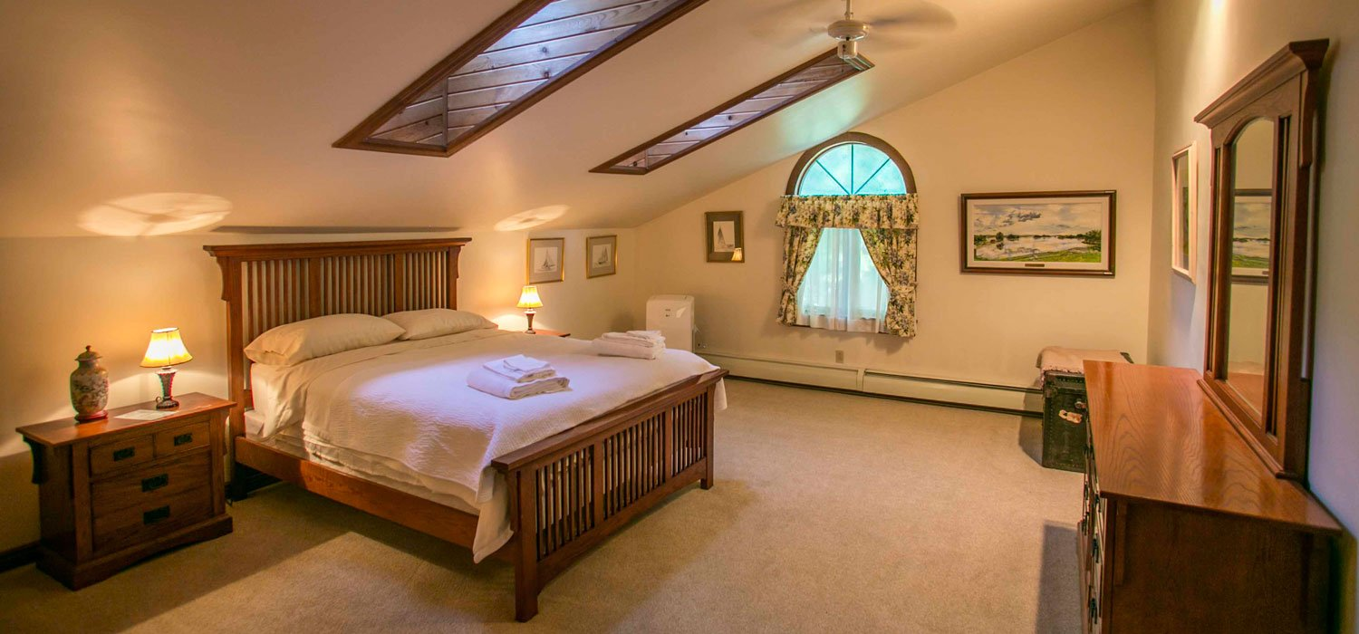 Carpeted bedroom with skylights and art