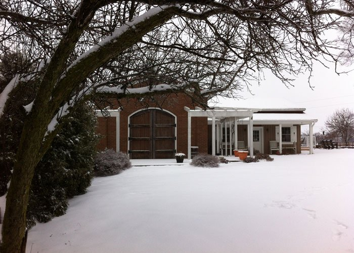 Exterior of the winery and giftshop under snow