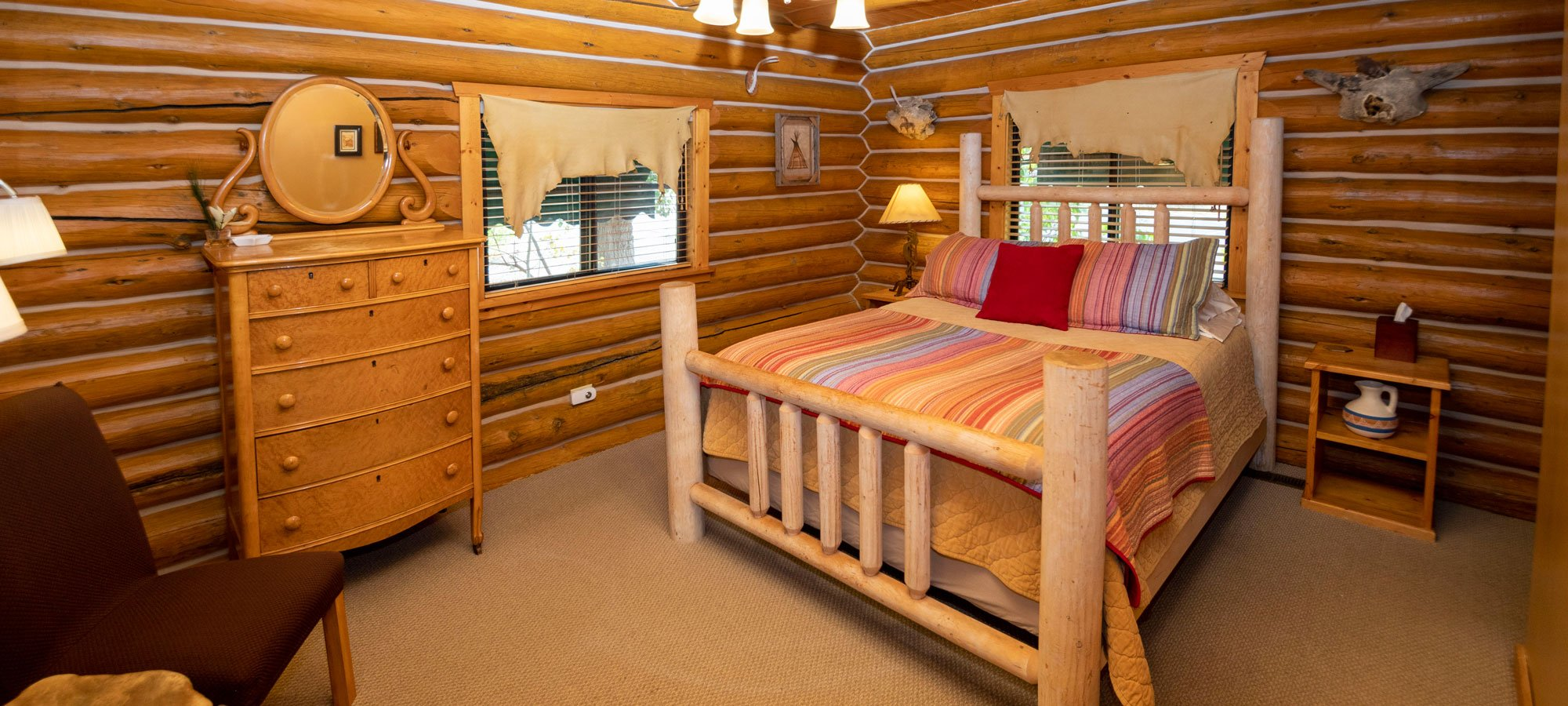 Bed with dresser and chair