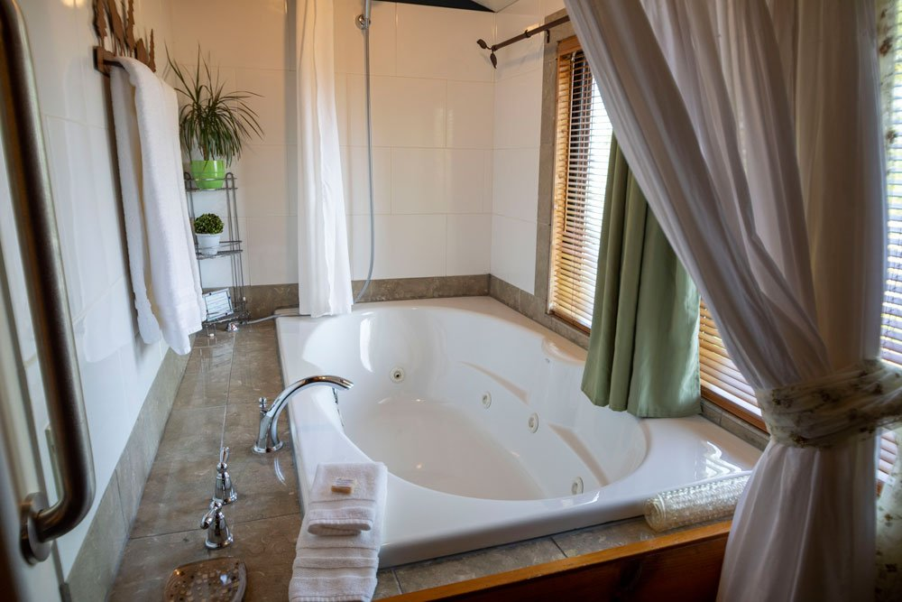 Jetted tub with shower