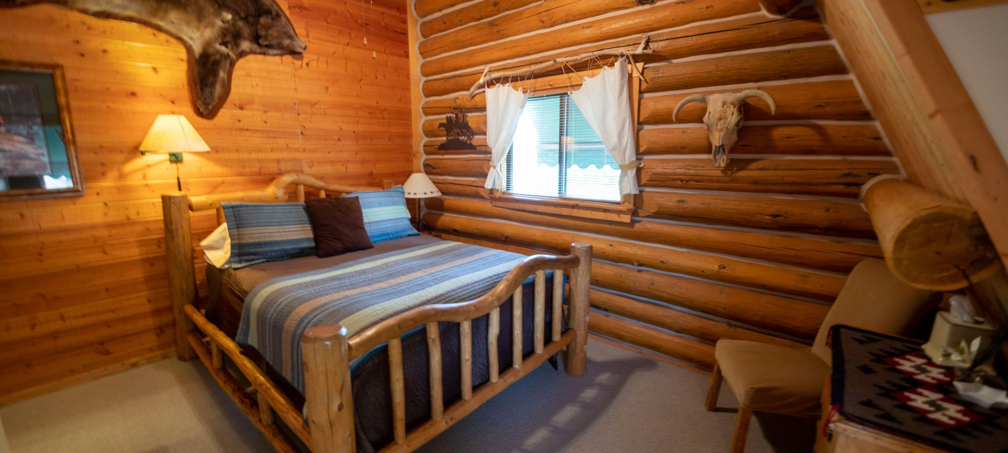 Backcountry room with bed and lamp