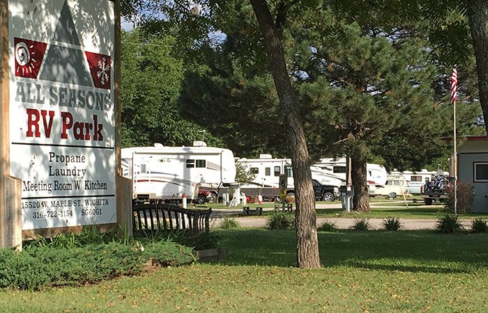rvs at All Season RV Park in Goddard, KS