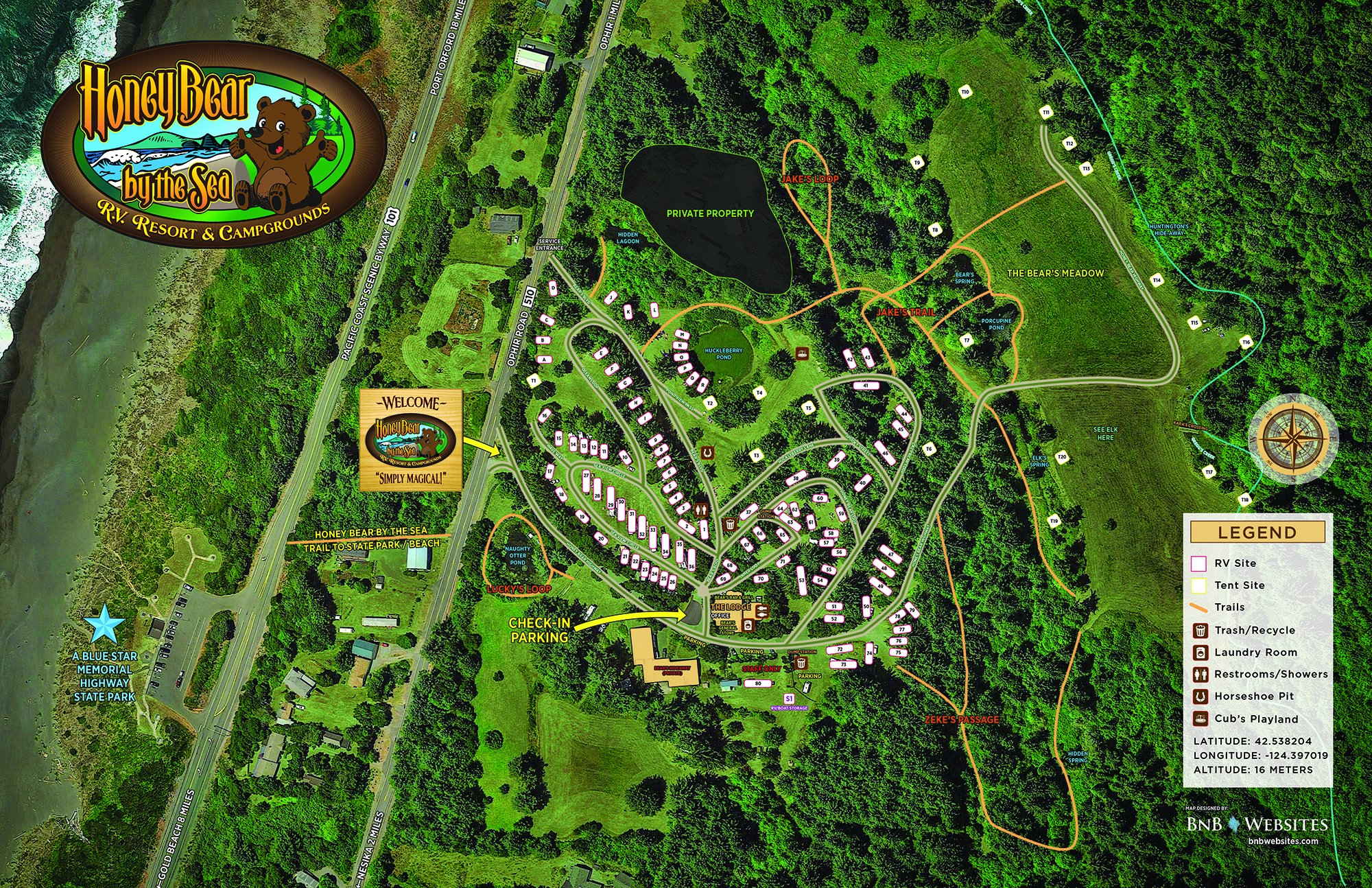 Map of Honey Bear by the Sea RV Resort and Campground