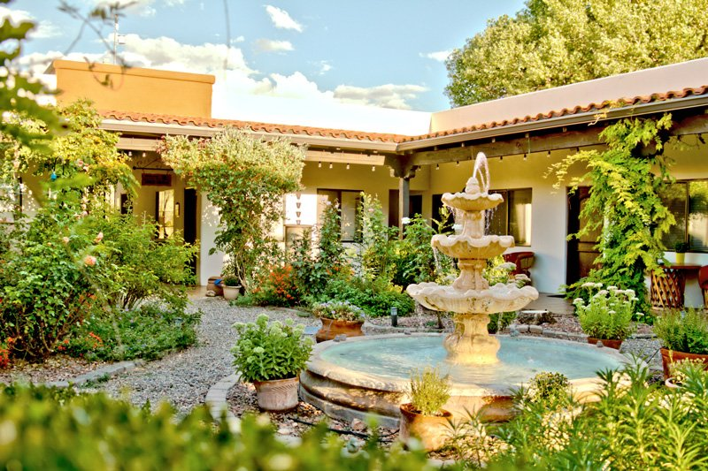 A fountain in the middle of a patio
