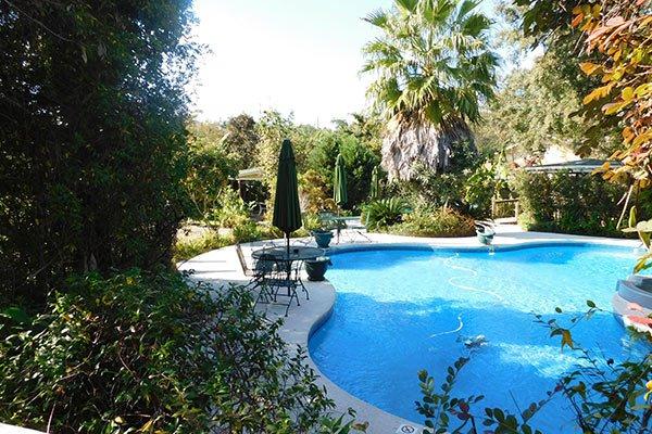 A backyard swimming pool