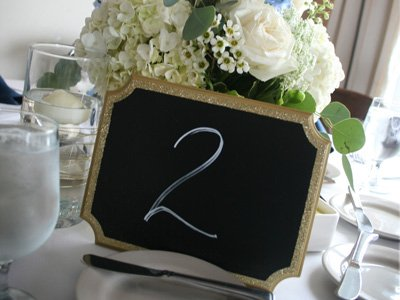 A blackboard with a seating number