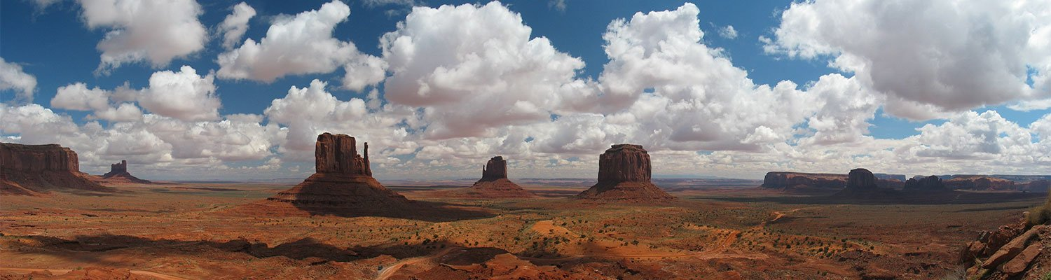 Monument Valley on a partially clouded day