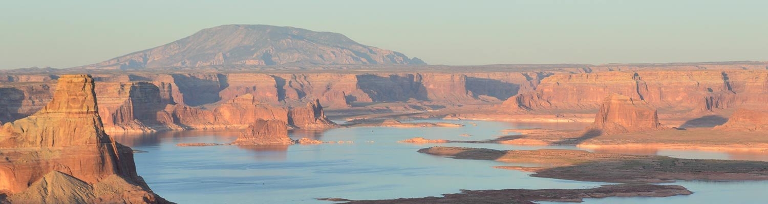 Lake Powell, surrounded by cliffs