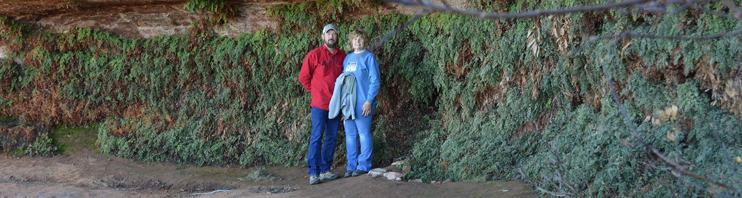 The innkeepers near a cliff wall covered in plants