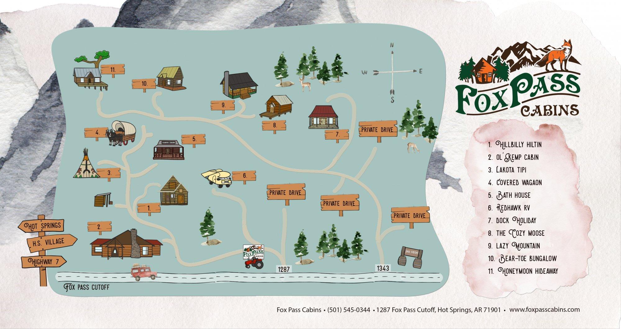 Fox Pass Cabins Map