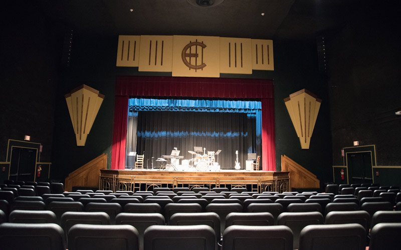 Theatre room with a set on stage
