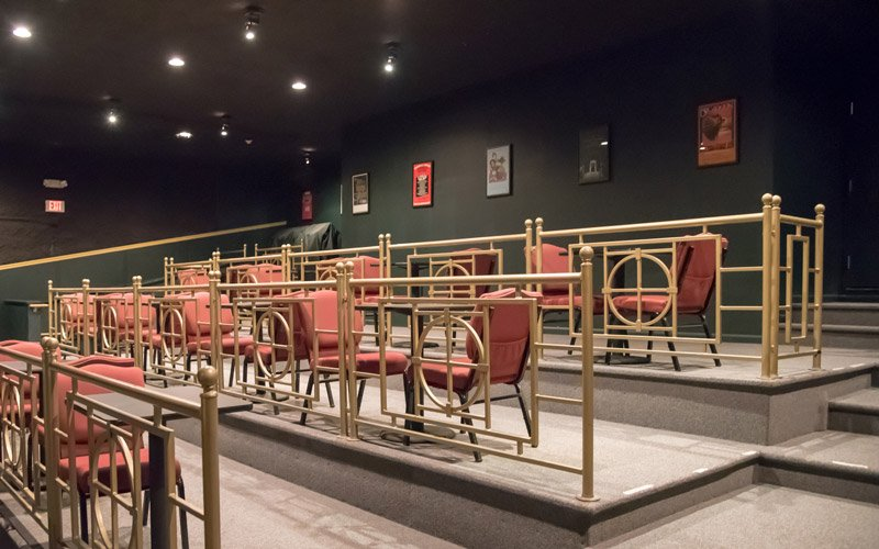 Old fashioned booths for couples to watch a movie