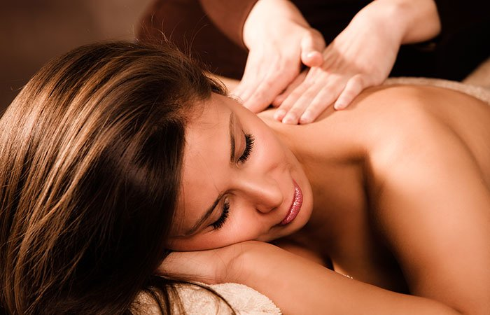 A woman receiving a massage