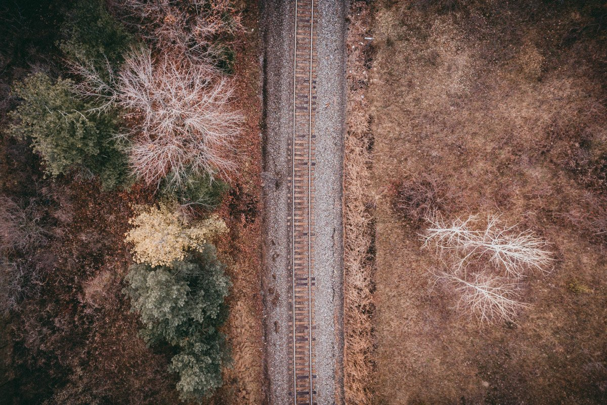railroad tracks in the fall