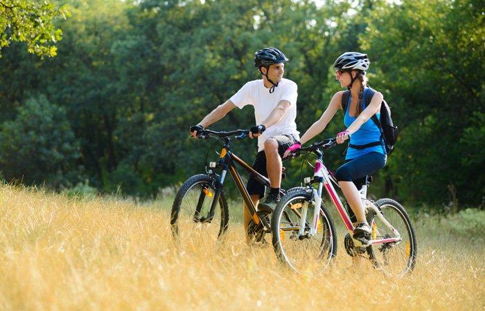 A couple out mountain biking