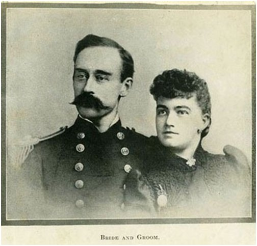 A sepia photograph of a bride and groom
