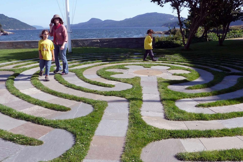 A labyrinth surrounded by grass