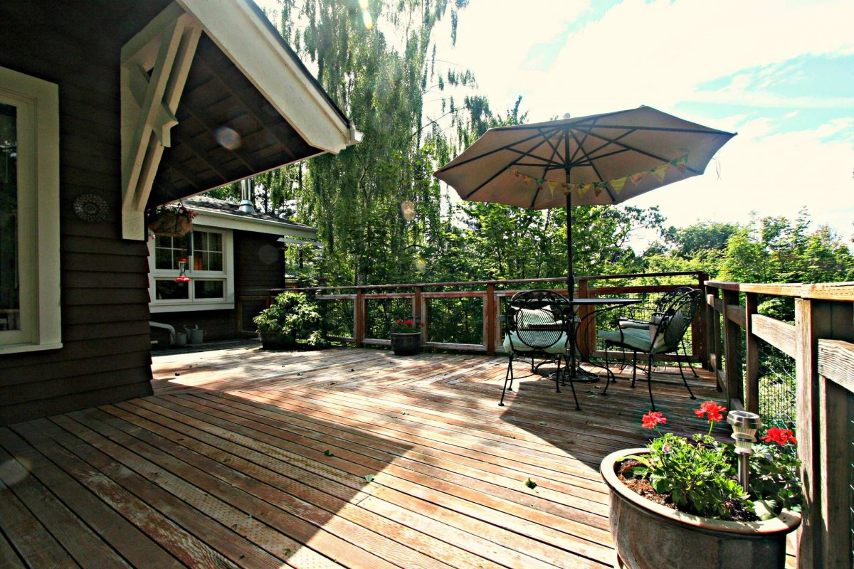 Deck with potted plants