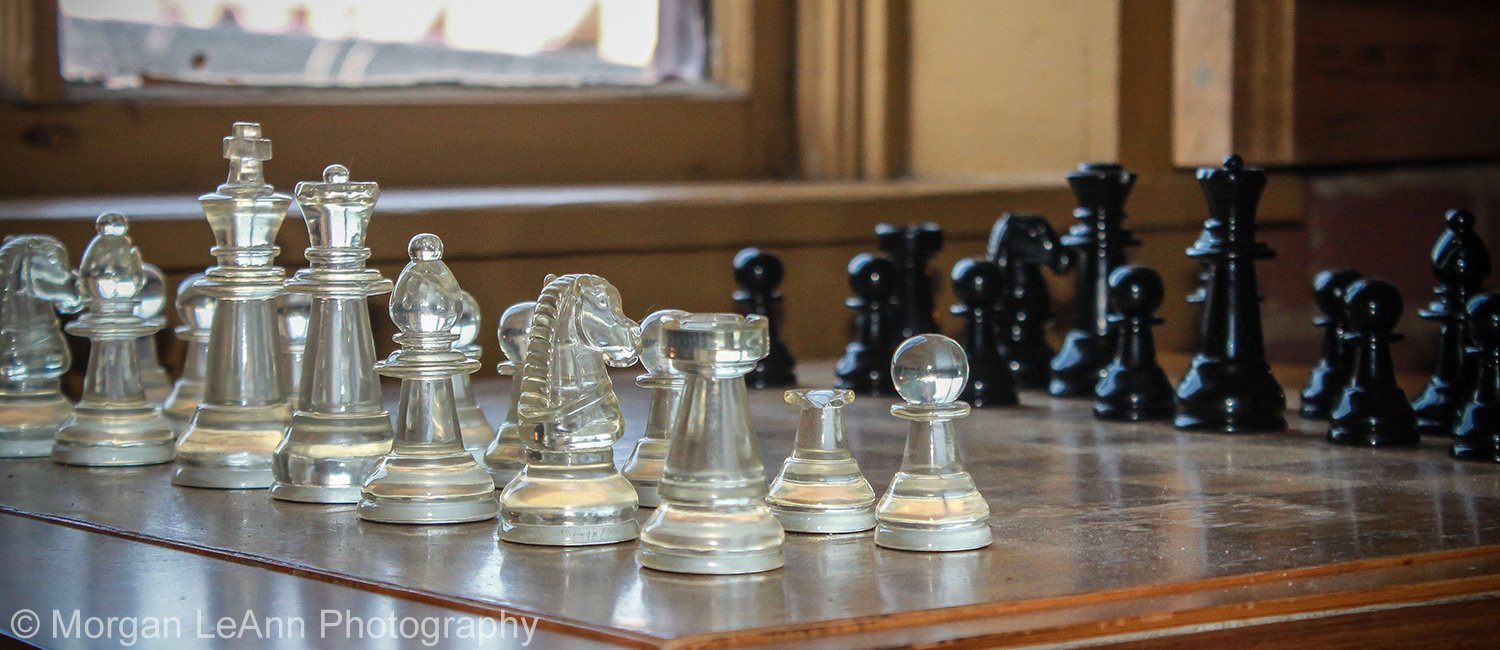 Shady Lady Bed and Breakfast glass chess pieces