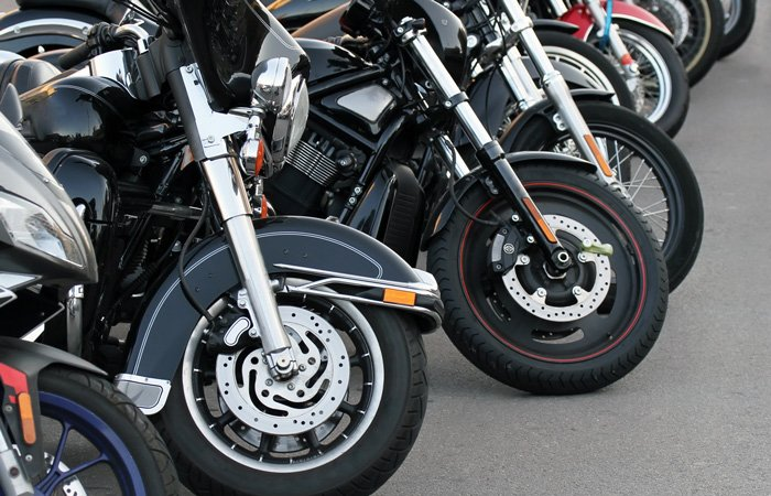 A row of parked motorcycles