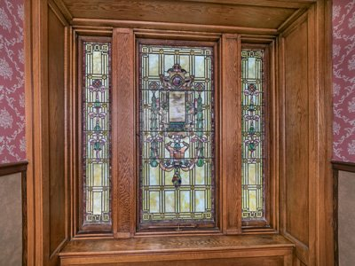 A door with stained glass