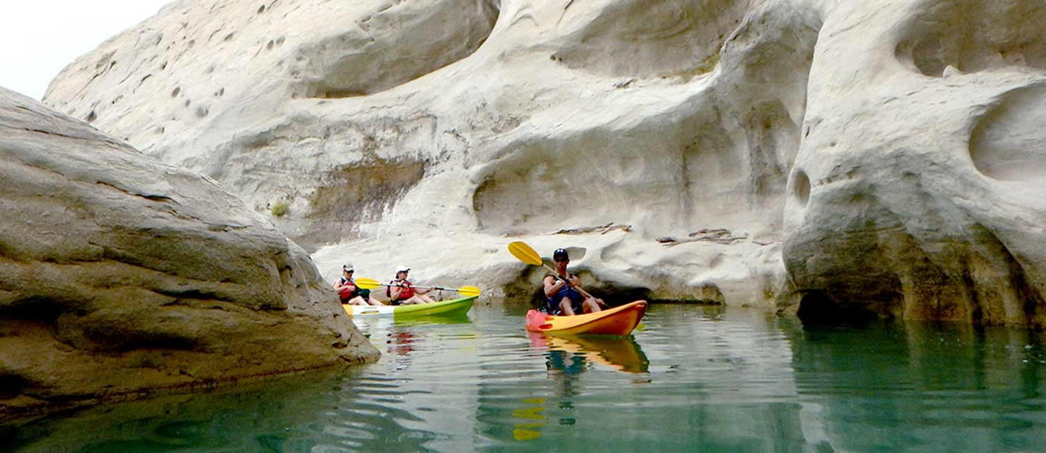 Kayakers on guided Lake Powell tour with Hidden Canyon Kayak