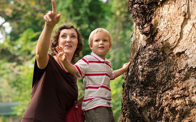 mom guiding son