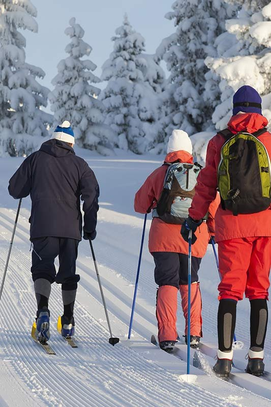 a man, a woman, and a young teen cross country skiing on a track