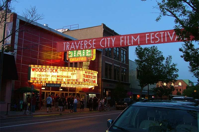 street view with a banner that says traverse city film festival