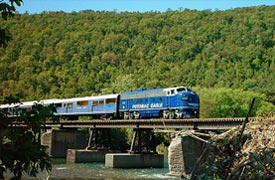 Potomac Eagle Train crossing bridge