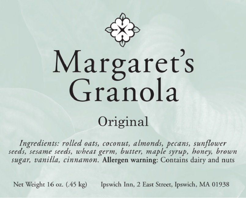 Margaret's Granola original. Ingredients: rolled oats, coconut, almonds, pecans, sunflower seeds, sesame seeds, wheat germ, butter, maple syrup, honey, brown sugar, vanilla, cinnamon. Allergen warning: contains dairy and nuts