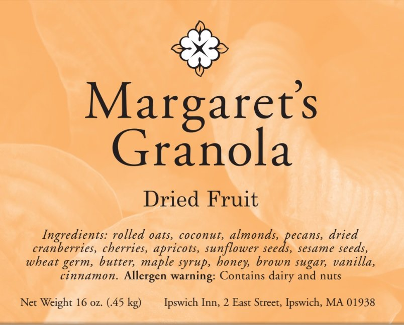 Margaret's Granola dried fruit. Ingredients: rolled oats, coconut, almonds, pecans, dried cranberries, cherries, apricots, sunflower seeds, sesame seeds, wheat germ, butter, maple syrup, honey, brown sugar, vanilla, cinnamon. Allergen warning: contains dairy and nuts