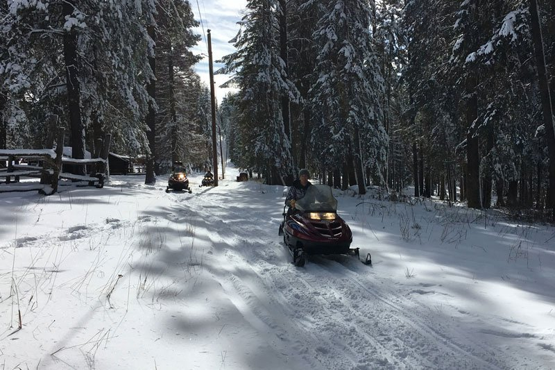 A person snowmobiling