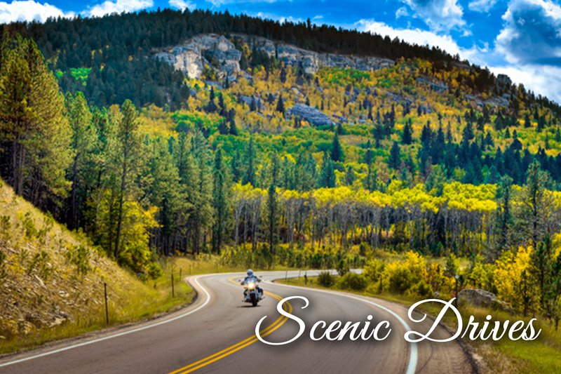 Motorcyclist driving through canyon scenic drives