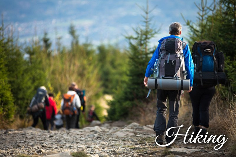 Group hiking with backpacks