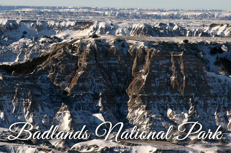 Badlands National Park winter snow