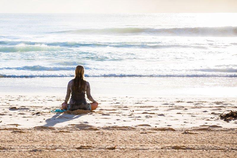 Meditating on Carmel Beach