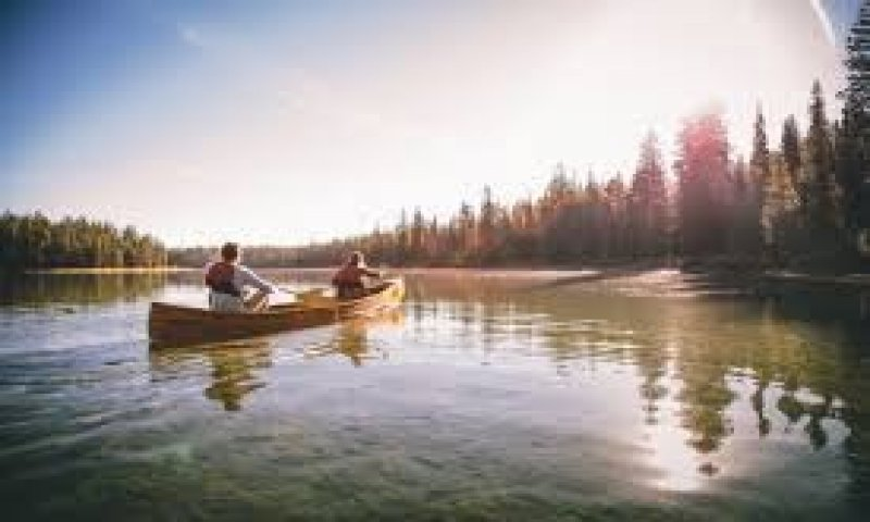 canoeing on river